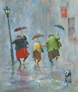juguetes distintos mujeres bajo la lluvia